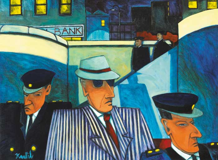 GANGSTER AND GUARDS BEFORE A BANK (WALL STREET SERIES) by Graham Knuttel sold for �7,000 at Whyte's Auctions