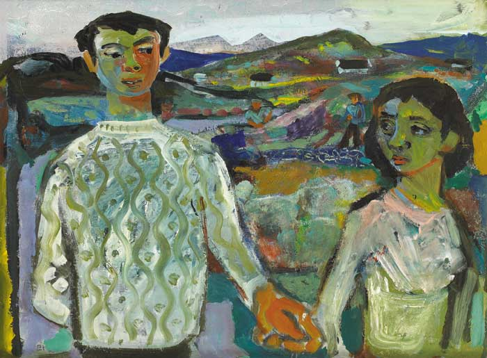 YOUNG COUPLE IN A LANDSCAPE by Gerard Dillon sold for �52,000 at Whyte's Auctions