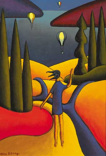FIGURE LOOKING OUT TO SEA, HOT AIR BALLOONS IN DISTANCE by Alan Kenny (b.1965) at Whyte's Auctions