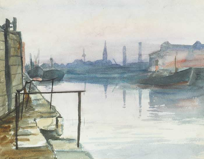 MISTY DAY, GRAND CANAL BASIN, 1954 by Evin Nolan (b.1930) at Whyte's Auctions