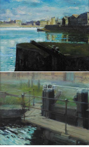 RINGSEND and LOCK GATES, RINGSEND, DUBLIN (A PAIR) by Thomas Ryan PPRHA (b.1929) at Whyte's Auctions