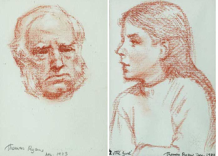 HEAD OF A MAN and LITTLE GIRL (A PAIR), 1982-83 by Thomas Ryan PPRHA (b.1929) at Whyte's Auctions