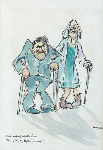 COMIC SKETCH OF TOM AND MARY RYAN by Thomas Ryan PPRHA (b.1929) at Whyte's Auctions