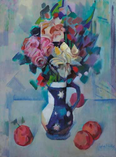 STILL LIFE WITH ROSES IN A BLUE JUG, 1990 by John F. Kelly (1921-1995) at Whyte's Auctions
