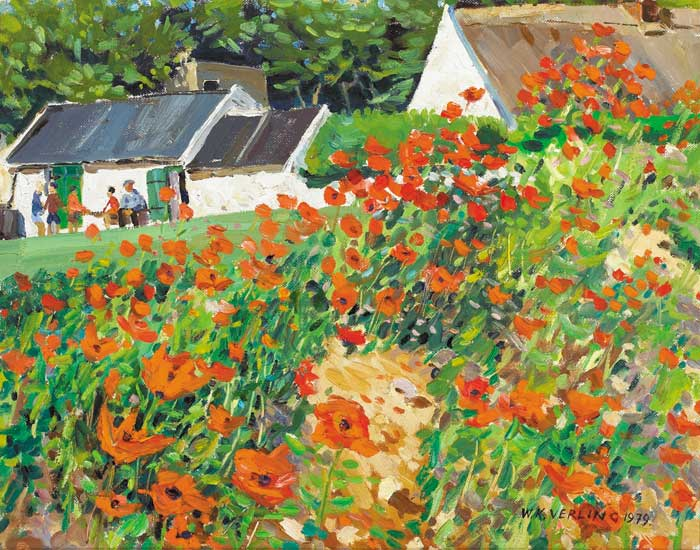 POPPY FIELD WITH FIGURES OUTSIDE A ROW OF COTTAGES, 1979 by Walter Verling HRHA (b.1930) at Whyte's Auctions