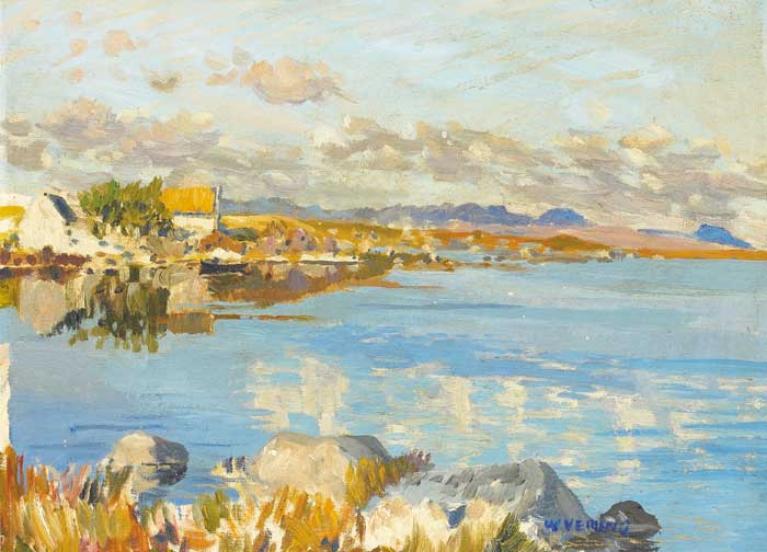 COTTAGE BY A LOUGH by Walter Verling HRHA (b.1930) at Whyte's Auctions