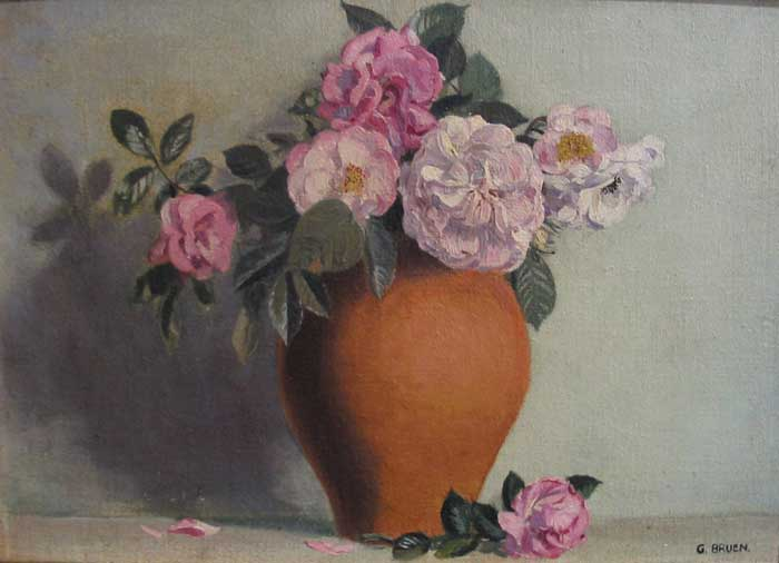 ROSES IN A TERRACOTTA VASE by Gerald J. Bruen RHA (1908-2004) at Whyte's Auctions