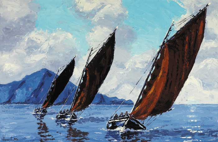 GALWAY HOOKERS SAILING OFF CLARE ISLAND, COUNTY MAYO by Ivan Sutton (b.1944) at Whyte's Auctions