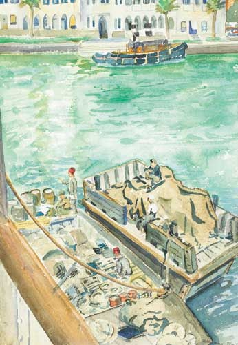 PORT SIDE, SUEZ CANAL, 1948 by Rosemary Coyle (fl. 1940s-1990s) at Whyte's Auctions