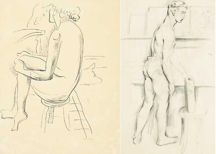 A SEATED FEMALE NUDE and  A MALE LIFE STUDY (A PAIR) by Mainie Jellett (1897-1944) at Whyte's Auctions