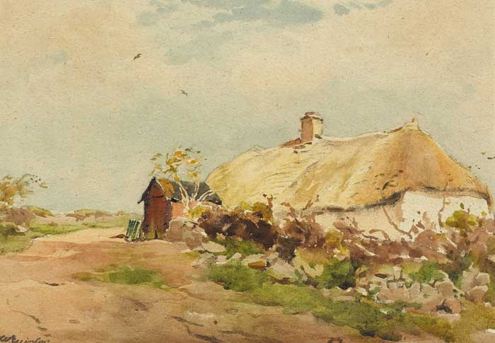 THATCHED COTTAGE by Wycliffe Egginton RI RWS (1875-1951) RI RWS (1875-1951) at Whyte's Auctions