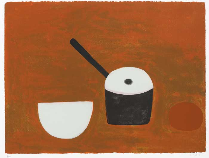 WHITE BOWL, BLACK PAN ON BROWN, 1970 by William Scott sold for �5,400 at Whyte's Auctions