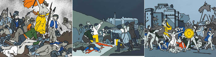LIBERTY AT THE BARRICADES AFTER DELACROIX, THE THIRD OF MAY AFTER GOYA and THE RAPE OF THE SABINES AFTER DAVID, 1971-73 (SET OF THREE) by Robert Ballagh sold for �2,000 at Whyte's Auctions