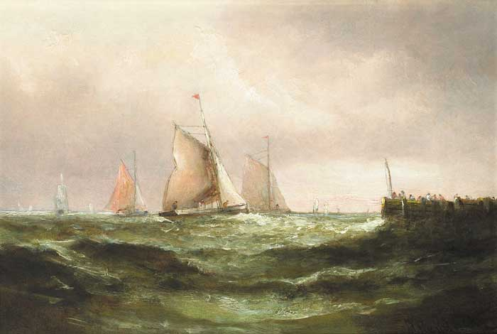 YACHTS OFF A PIER by Matthew Kendrick sold for �2,000 at Whyte's Auctions