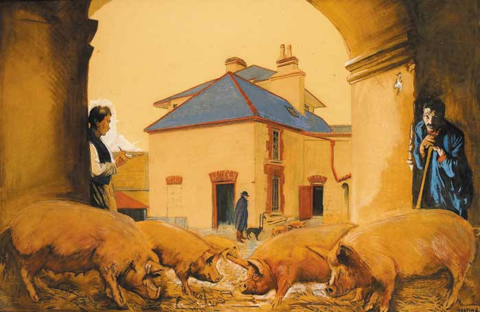 IRISH FREE STATE BACON, 1928 by Seán Keating sold for €28,000 at Whyte's Auctions
