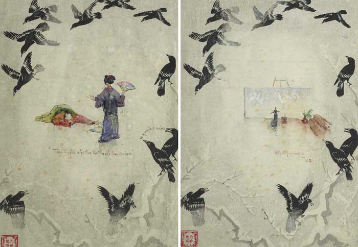 TWO GREETING CARDS SENT TO SARAH PURSER, ONE A SKETCH OF SARAH PURSER, THE OTHER, A SCENE FROM THE MIKADO by Walter Frederick Osborne sold for �4,800 at Whyte's Auctions