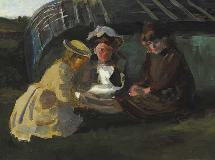 SKETCH OF THREE GIRLS WINDING WOOL, 1887 by Walter Frederick Osborne sold for �22,000 at Whyte's Auctions