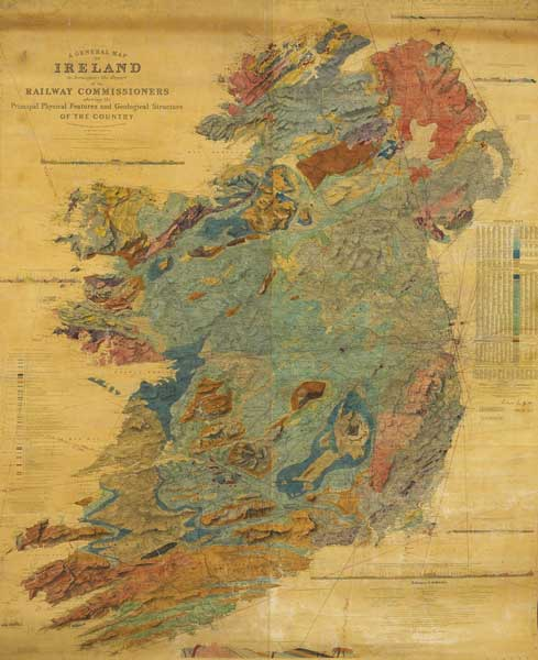 1855 a general map of ireland to accompany the report of the a general map of ireland to accompany the report of the railway commissioners showing the principal physical features and geological structure of the sciox Images