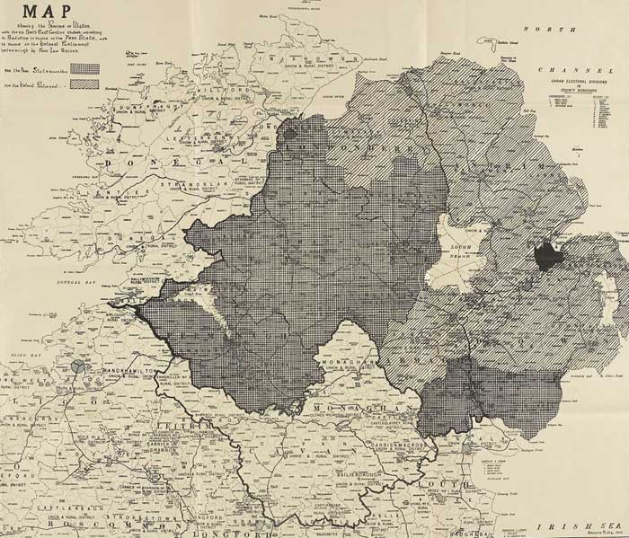 1922 Boundary Commission Map Of Ulster With The Six North East