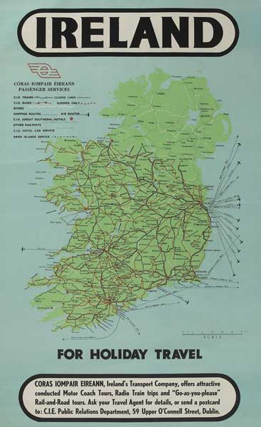 Map Of Ireland Please.1950s Poster Ireland Coras Iompair Eireann Passenger Services Map