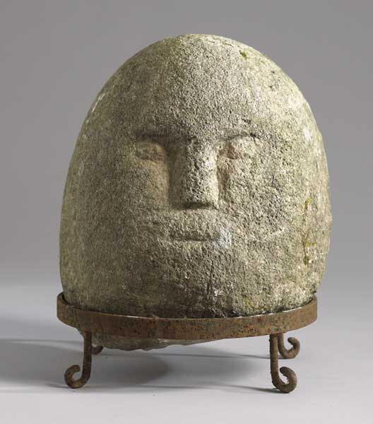 Circa 200BC Iron Age carved stone head found near Claudy, Co. Derry at Whyte's Auctions