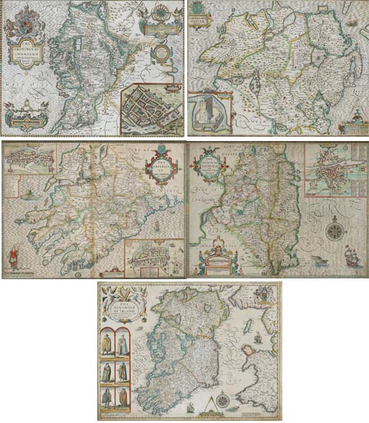 """The Kingdom of Ireland"" and ""Maps of Connaught, Munster, Leinster and Ulster"", 1610 by John Speed  at Whyte's Auctions"