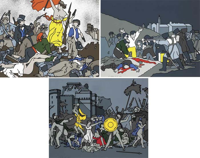 LIBERTY AT THE BARRICADES AFTER DELACROIX, THE THIRD OF MAY AFTER GOYA and THE RAPE OF THE SABINES AFTER DAVID, 1973 (SET OF THREE) by Robert Ballagh sold for �2,200 at Whyte's Auctions