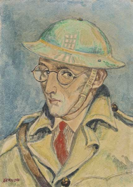 SELF PORTRAIT IN TIN HAT, 1940 by Harry Kernoff RHA (1900-1974) RHA (1900-1974) at Whyte's Auctions