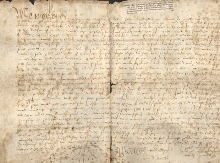 1555 (22 January) Rare early document signed by James Fitzgerald, Earl of Desmond, concerning an adultery charge at Whyte's Auctions