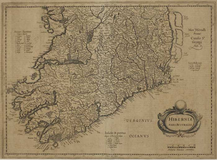 "17th Century Map of the Southern Half of Ireland. "" Hibernia Pars Australis "" at Whyte's Auctions"