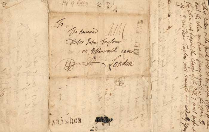 1770 (25 April) letter from the Bishop of Ossory, at Kilkenny to Dr. John Taylor, London at Whyte's Auctions