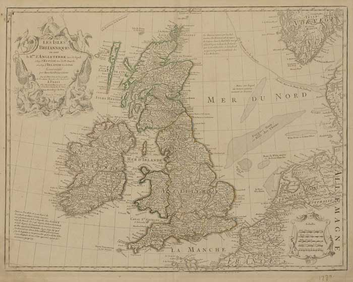 1772. Map of Ireland and Britain by G. de L'Isle, Paris, after Speed, Pont and Petty. at Whyte's Auctions