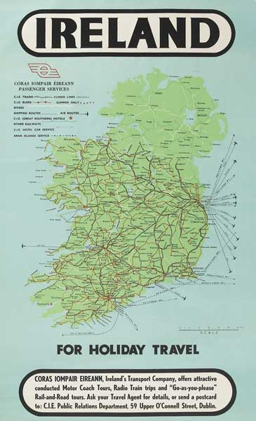 Map Of Ireland Poster.1950s Poster Ireland Cie Passenger Services Map At Whyte S