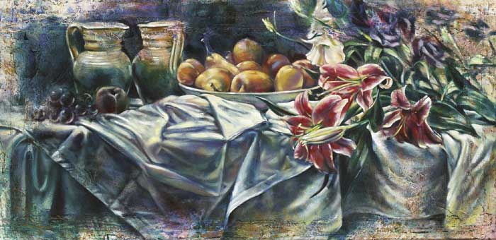 TIGER LILLIES WITH FRUIT AND JUGS, 2002 by John Keating sold for �1,900 at Whyte's Auctions
