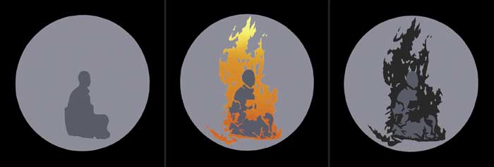 BURNING MONK, 1968 by Robert Ballagh sold for �9,500 at Whyte's Auctions