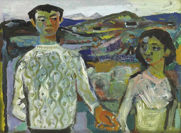 YOUNG COUPLE IN A LANDSCAPE by Gerard Dillon sold for �30,000 at Whyte's Auctions