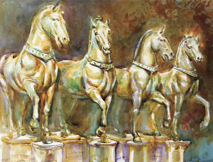 VENETIAN HORSES, 2003 by John Keating sold for �400 at Whyte's Auctions