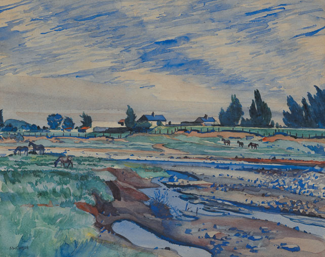 THE RIVER DODDER NEAR TEMPLEOGUE by Maurice MacGonigal PRHA HRA HRSA (1900-1979) at Whyte's Auctions