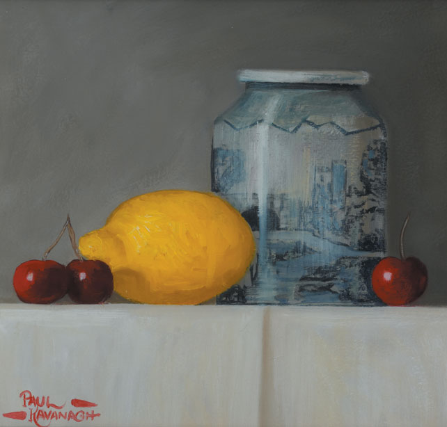 CHINESE VASE, LEMON AND CHERRIES by Paul Kavanagh sold for �600 at Whyte's Auctions