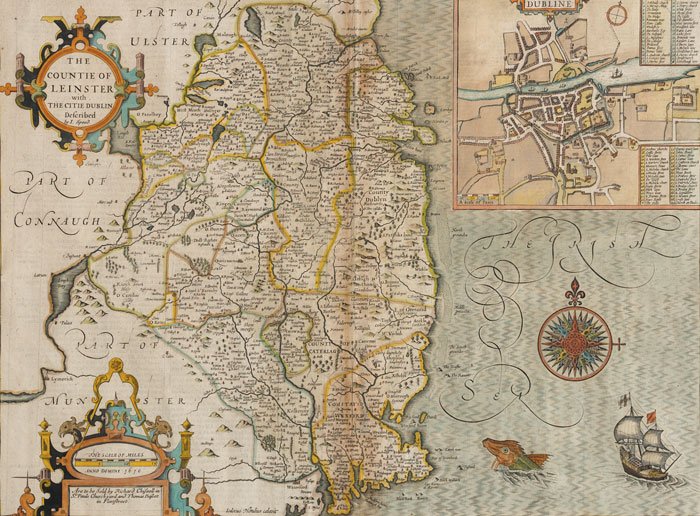 1610: John Speed map of Leinster with inset map of Dublin at Whyte's Auctions