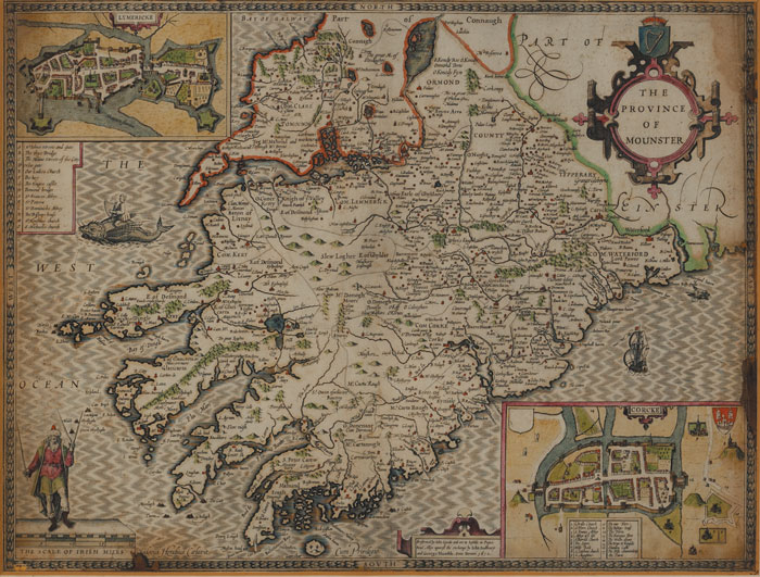 1610: John Speed map of Munster at Whyte's Auctions