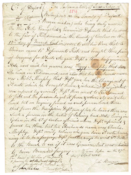 1729-1847: Wexford legal documents collection including affidavits, depositions etc. at Whyte's Auctions