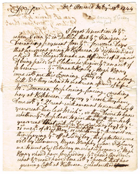 1740-64: Gorey, Wexford rent and property letters at Whyte's Auctions