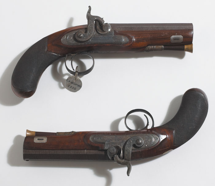 circa 1807: Early pair of trial percussion pistols by Joseph Egg with permission by Forsyth. at Whyte's Auctions