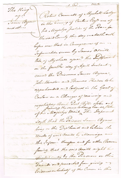 1800 (19 April) Lord Kilwarden and Robert Cornwall signed sworn declaration - 1798/1803 Rebellions interest at Whyte's Auctions