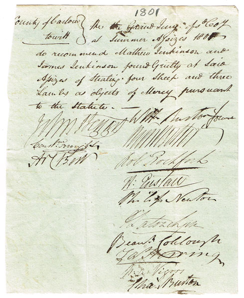 1801-12: County Carlow Grand Jury signed orders of mercy for convict transportation at Whyte's Auctions