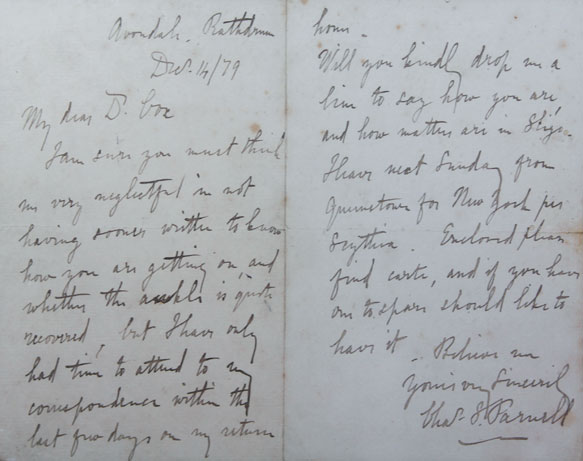 1879 (14 December) Charles Stewart Parnell handwritten and signed letter at Whyte's Auctions