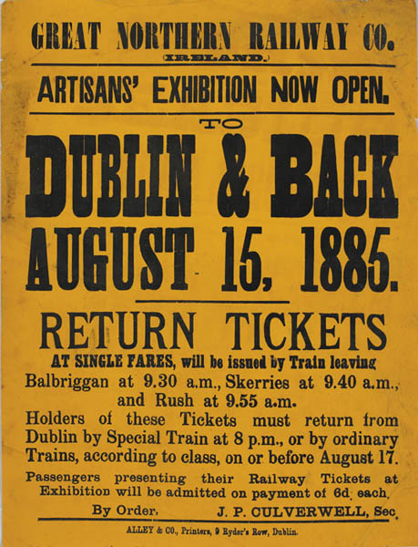 1885: Great Northern Railways Co. Artisans' Exhibition poster at Whyte's Auctions
