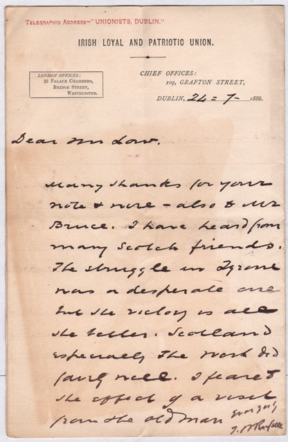 1886-90: Irish and Scottish Unionist letters relating to the first Home Rule Bill and the Liberal split at Whyte's Auctions