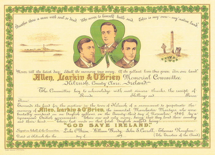 "1890s: Allen Larkin & O'Brien (""Fenian Martyrs"") Memorial, Kilrush, Co. Clare, certificate of subscription at Whyte's Auctions"